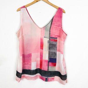 White House Black Market Pink Sheer Shell Blouse